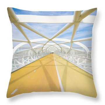 Modern Bicycle And Footbridge Throw Pillow by Hans Engbers