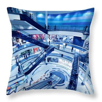 Modern Shopping Mall Interior Throw Pillow by Michal Bednarek
