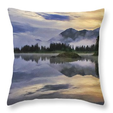 Molas Lake Sunrise Throw Pillow by Priscilla Burgers