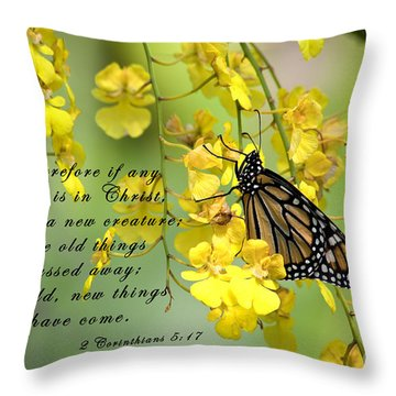 Monarch Butterfly With Scripture Throw Pillow