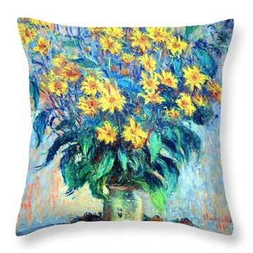 Throw Pillow featuring the photograph Monet's Jerusalem  Artichoke Flowers by Cora Wandel