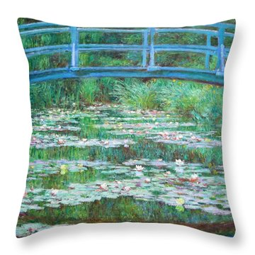 Throw Pillow featuring the photograph Monet's The Japanese Footbridge by Cora Wandel