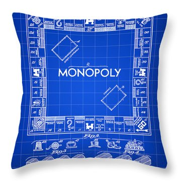 Monopoly Patent 1935 - Blue Throw Pillow by Stephen Younts