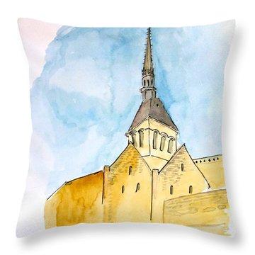 Mont Saint Micheal Throw Pillow