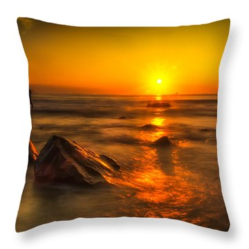 Montauk New York Summer Sunrise Throw Pillow