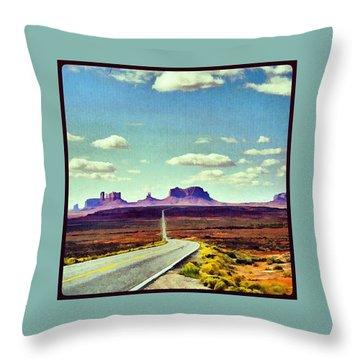 Easy Riding Thru Monument Valley Az/ut Usa Throw Pillow