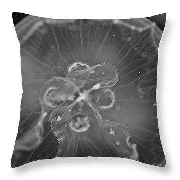 Moon Jellyfish - Black And White Throw Pillow