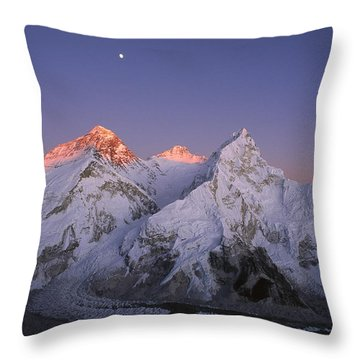 Moon Over Mount Everest Summit Throw Pillow