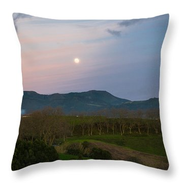 Moon Over The Hills Of Povoacao Throw Pillow