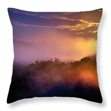 Moon Setting In Mist Throw Pillow