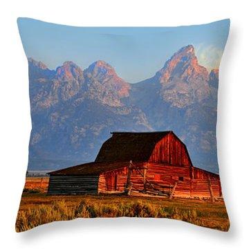 Mormon Row And The Grand Tetons  Throw Pillow by Ken Smith