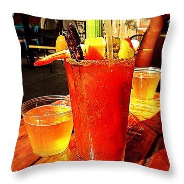 Morning Bloody Throw Pillow by Perry Webster