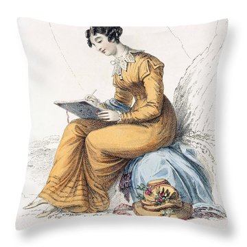 Morning Dress, Fashion Plate Throw Pillow by English School
