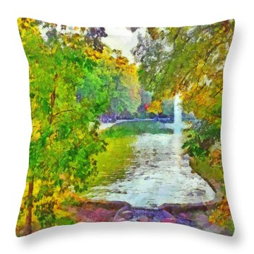 Morning On The First Day Of Classes. Mirror Lake. The Ohio State University Throw Pillow