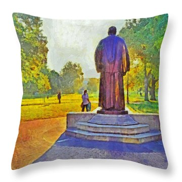 Morning On The First Day Of Classes. The William Oxley Thompson Statue. The Ohio State University Throw Pillow