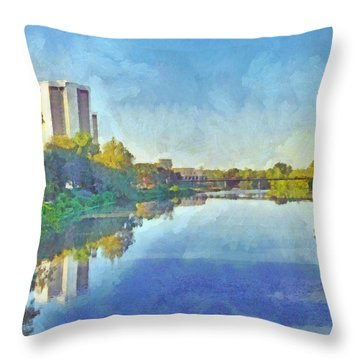Morning On The First Day Of Classes. Towers On The Olentangy. The Ohio State University Throw Pillow
