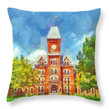 Morning On The First Day Of Classes.  University Hall.  The Ohio State University Throw Pillow