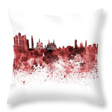 Moscow Skyline White Background Throw Pillow