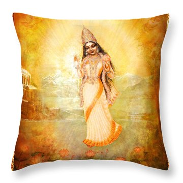 Mother Goddess With Angels Throw Pillow