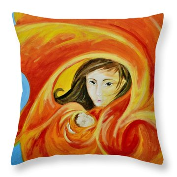 Mother's Warmth Throw Pillow