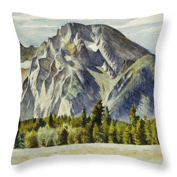 Mount Moran Throw Pillow by Edward Hopper