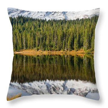 Mount Rainier And Reflection Lakes In The Fall Throw Pillow