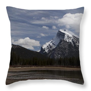 Mount Rundle And Vermilion Lake Throw Pillow