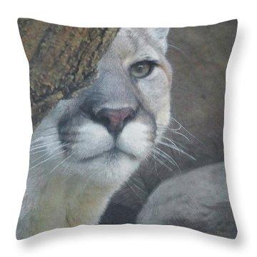 Mountain Lion Painterly Throw Pillow by Ernie Echols