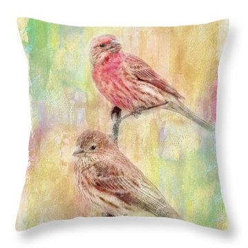 Mr And Mrs House Finch - Digital Paint Throw Pillow by Debbie Portwood