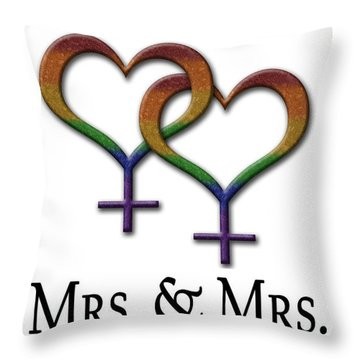 Mrs. And Mrs. Lesbian Pride  Throw Pillow