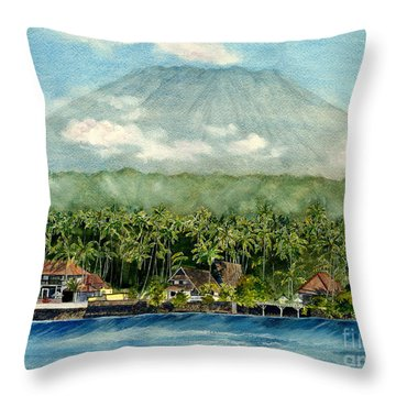 Throw Pillow featuring the painting Mt. Agung Bali Indonesia by Melly Terpening