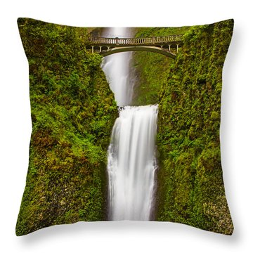 Multnomah Falls Throw Pillow by Patricia Davidson