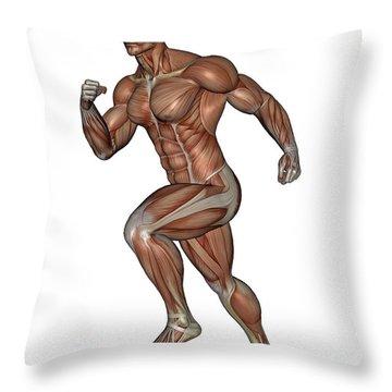 Muscular Man Running Throw Pillow