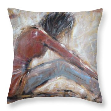 Throw Pillow featuring the painting My New Red Shoes 190809 by Selena Boron