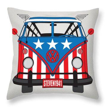 My Superhero-vw-t1-captain America Throw Pillow