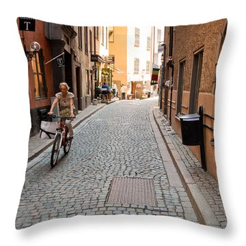 Narrow Stockholm Street Sweden Throw Pillow