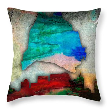 Nashville Skyline And Map Watercolor Throw Pillow by Marvin Blaine