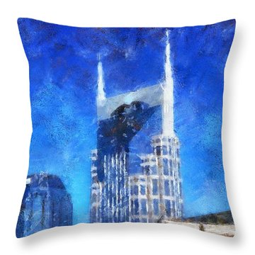 Nashville Skyline Throw Pillow by Dan Sproul