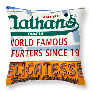 Nathan's Sign Throw Pillow by Valentino Visentini