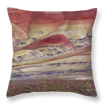 John Day Fossil Beds Painted Hills Throw Pillow by Michele Penner