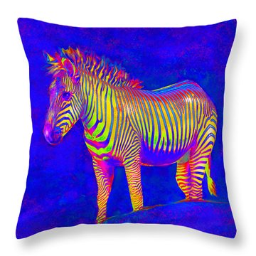 Throw Pillow featuring the digital art Neon Zebra 2 by Jane Schnetlage