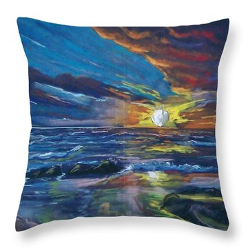 Never Ending Sea Throw Pillow