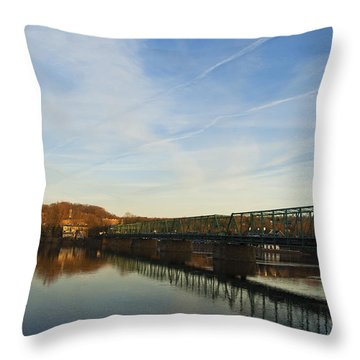 New Hope Lambertville Bridge Throw Pillow by Elsa Marie Santoro
