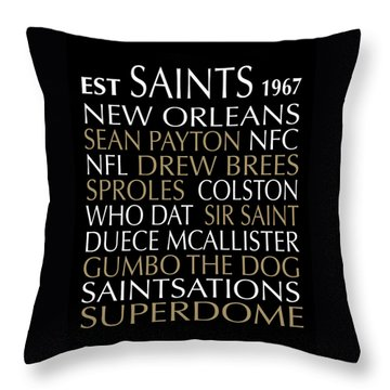 New Orleans Saints Throw Pillow