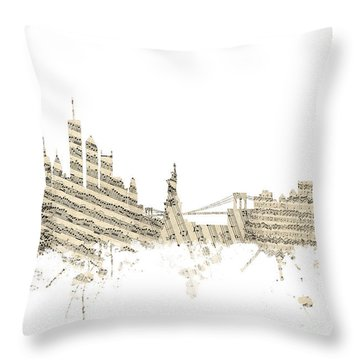 Philadelphia Pennsylvania Skyline Sheet Music Cityscape Throw Pillow by Michael Tompsett