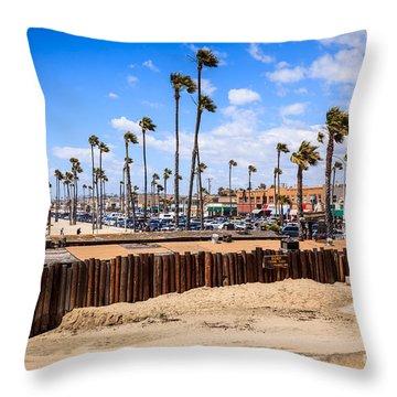 Newport Beach Dory Fishing Fleet Market Throw Pillow by Paul Velgos