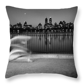 Night Jogger Central Park Throw Pillow
