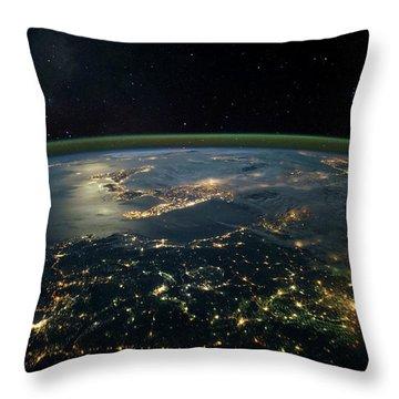 Night Time Satellite View Of Planet Throw Pillow