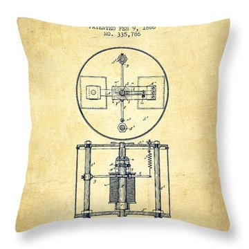Nikola Tesla Patent Drawing From 1886 - Vintage Throw Pillow by Aged Pixel