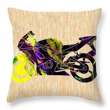 Ninja Motorcycle Art Throw Pillow